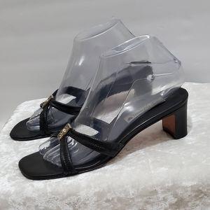 Brighton Black Kitten Heel Sandals